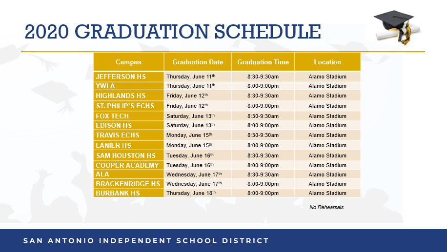 june graduation schedule
