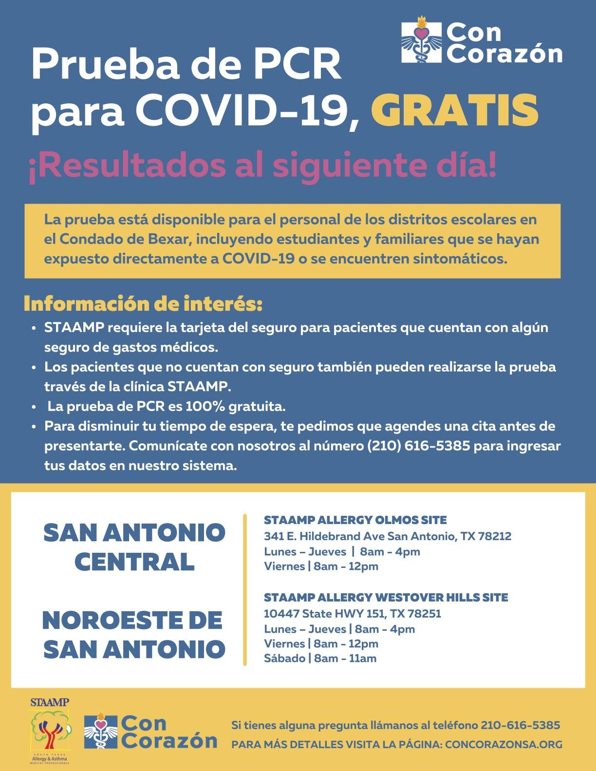 Gratis COVID-19 prueba